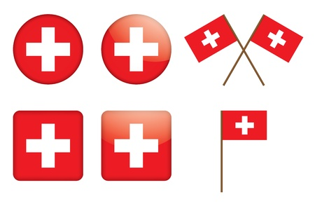 swiss flag: set of badges with Swiss flag