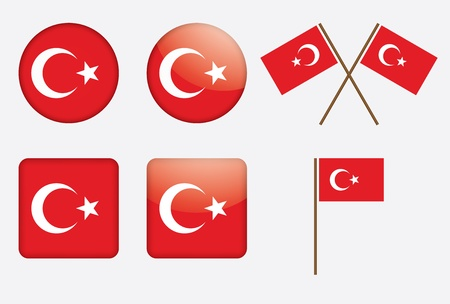 set of badges with flag of Turkey Stock Vector - 13895943