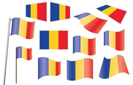 set of flags of Romania Stock Vector - 13895944