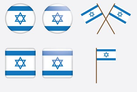 israel flag: set of badges with flag of Israel