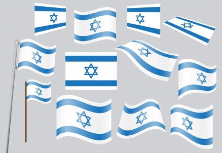 set of flags of Israel  Vector