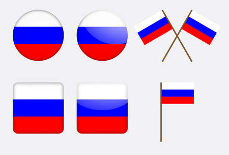 set of badges with Russian flag  Vector