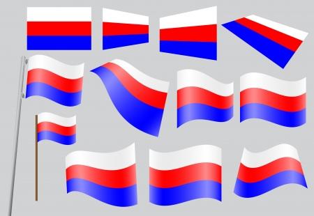 флагшток: Набор флаги России Иллюстрация