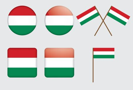 set of badges with flag of Hungary  Vector