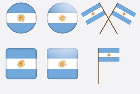 set of badges with flag of Argentina vector illustration Vector