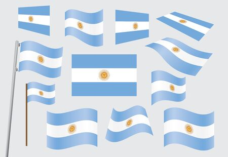 set of flags of Argentina vector illustration Vector