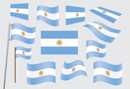 metallic  sun: set of flags of Argentina vector illustration