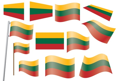 waved: set of flags of Lithuania vector illustration Illustration