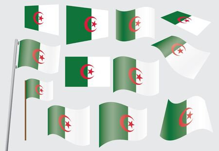 set of flags of Algeria vector illustration Stock Vector - 14169025