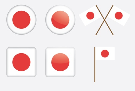 set of badges with flag of Japan vector illustration Vector