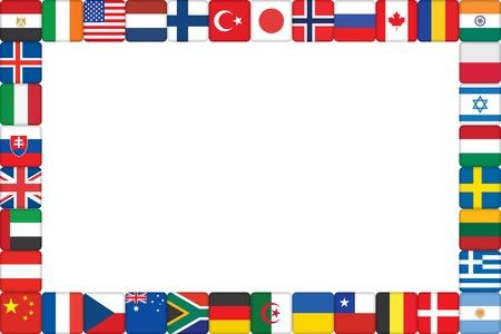 frame van de wereld vlag pictogrammen vector illustratie Vector Illustratie