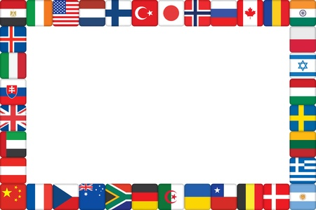 bandera francia: marco hecho de ilustraci�n del mundo la bandera de vectores iconos