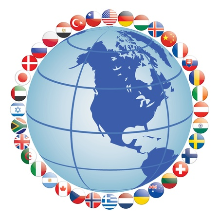 flag icons around globe vector illustration Vector