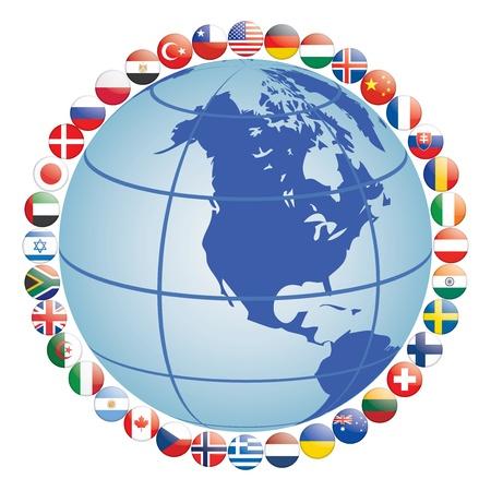 bandiere del mondo: icone bandiera intorno globo illustrazione vettoriale Vettoriali