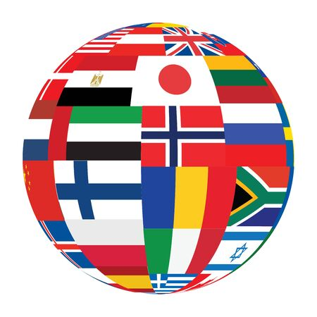 sphere with world flags vector illustration Stock Vector - 14169032