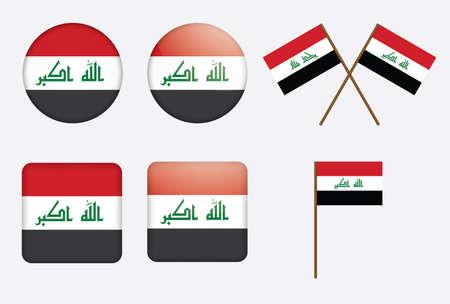 флагшток: Набор значков с флагом Ирака иллюстрации