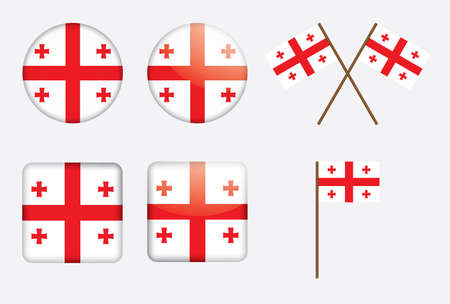 set  of badges with flag of Georgia Vector