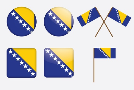 set of badges with flag of Bosnia and Herzegovina Stock Vector - 14241842