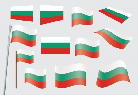 flagpole: set of flags of Bulgaria Illustration