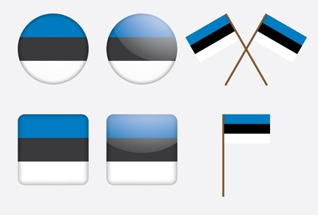 set of badges with Estonia flag Stock Vector - 14264141