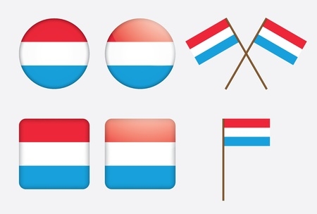 set of badges with flag of Luxembourg Vector