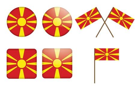флагшток: набор значки с флагом Македонии Иллюстрация