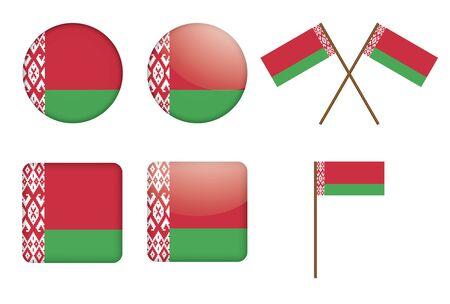 set of badges with flag of Belarus Vector