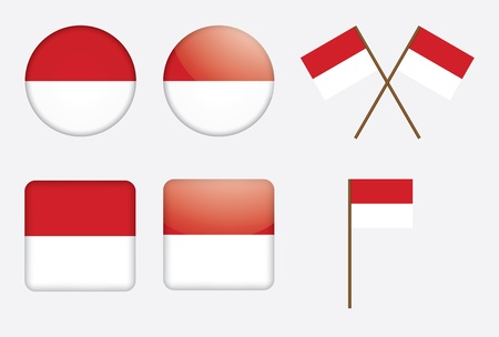 set of badges with flag of Monaco Vector