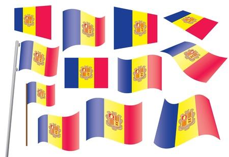 andorra: set of flags of Andorra  Illustration