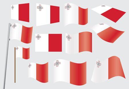 malta: set van vlaggen van Malta Stock Illustratie