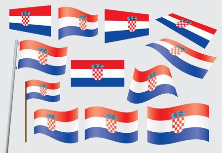 set of flags of Croatia vector illustration Vector