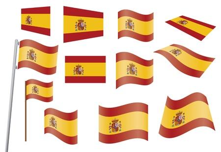 waved: set of flags of Spain