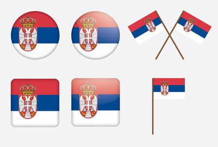 set of badges with flag of Serbia Vector