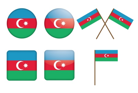 set of badges with flag of Azerbaijan vector illustration Vector