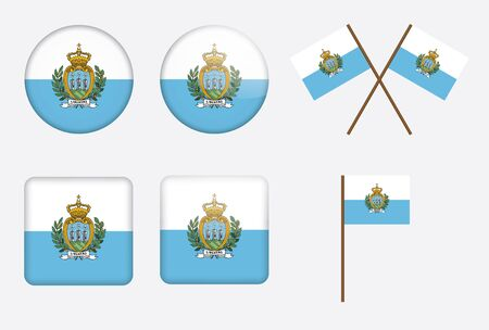 san marino: set of badges with flag of San Marino vector illustration Illustration