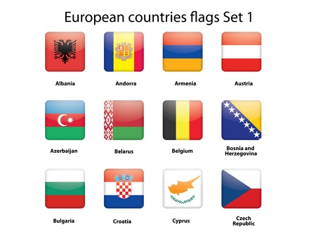 buttons with European countries flags set 1 Stock Vector - 14471550
