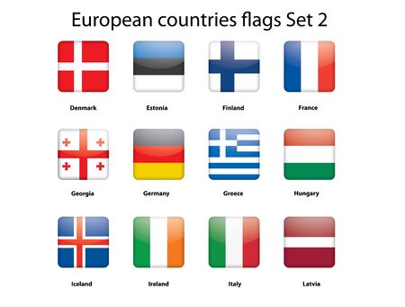 buttons with European countries flags set 2 Stock Vector - 14471547