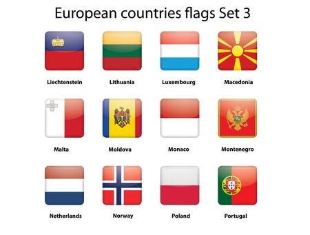 buttons with European countries flags set 3