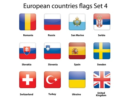 buttons with European countries flags set 4 Vector