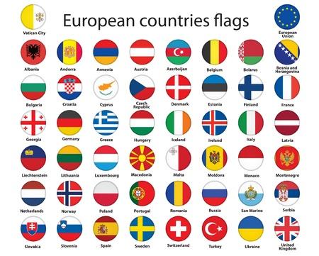 유럽: 유럽 벡터 일러스트 레이 션의 국기와 함께 라운드 단추 집합 일러스트