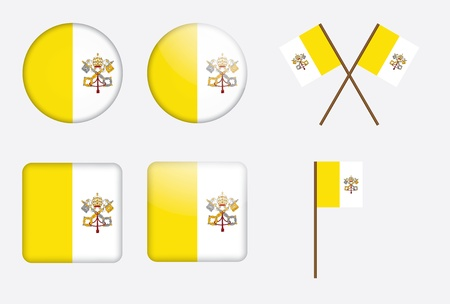 set of badges with flag of Vatican City