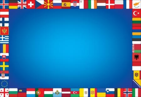 serbien: blauen Hintergrund mit Rahmen aus europ�ischen L�ndern Fahnen