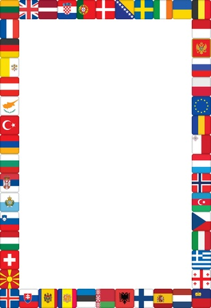 poland flag: frame made of European countries flags vector illustration Illustration