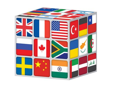 unites: cube with flags of the world vector illustration Illustration