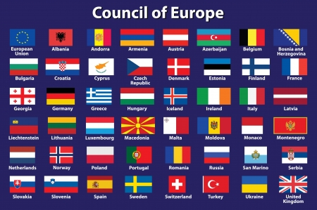set of Council of Europe flags  illustration Vector