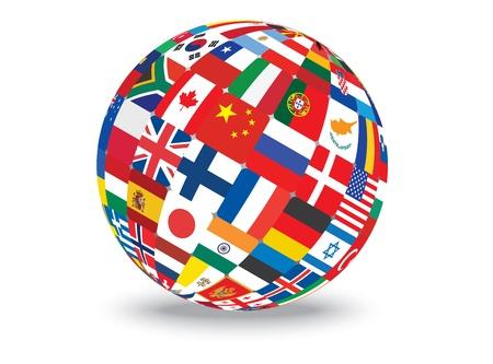 simbolo della pace: sfera con bandiere del mondo illustrazione Vettoriali