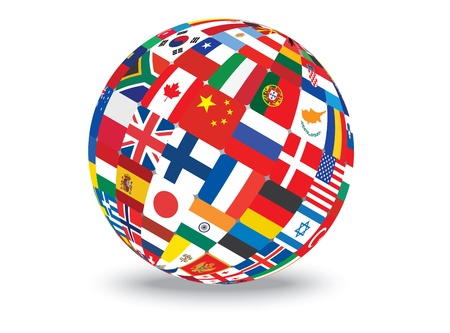 peace symbol: sphere with flags of the world  illustration Illustration