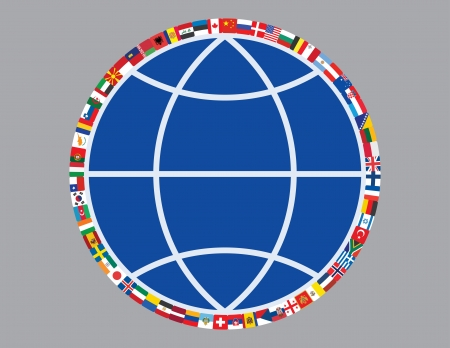 flags around sign of globe illustration Vector