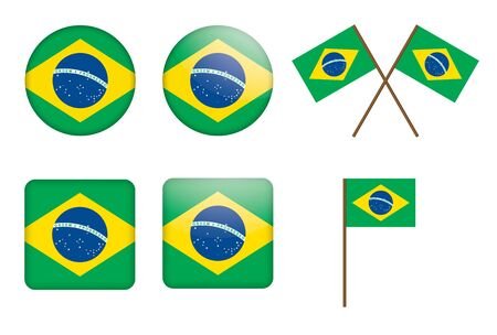 set of badges with flag of Brazilillustration Stock Vector - 14527127