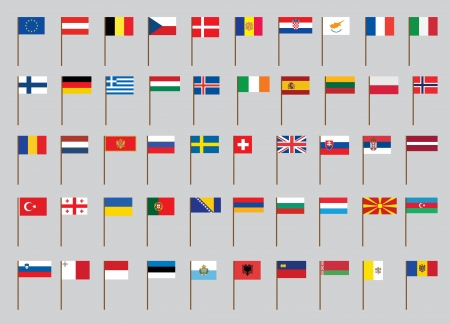 set of European flags on flagstaff vector illustration Vector